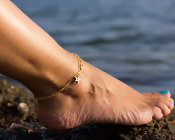Gold Anklet, Heart Anklet / Star Anklet, Layered Anklet / Beach Wedding, Bridesmaid Gift / Stainless steel Anklet, Foot jewelry   Naiades
