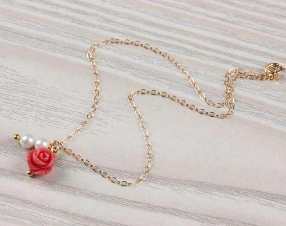 """Coral anklet, pearl ankle bracelet, gold filled anklet, gold ankle bracelet, flower anklet, coral rose bracelet, love anklet, """"Panacea"""""""