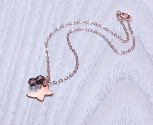 "Rose gold Anklet, butterfly ankle bracelet, smoky quartz bracelet, stone anklet, bridesmaid gift, rose gold jewelry, charm anklet, ""Soter"""