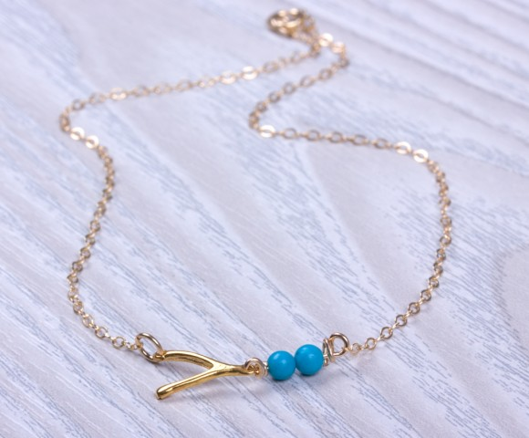 "Wishbone anklet, sideways wishbone, turquoise anklet, good luck anklet, turquoise and gold, gold ankle bracelet, bridesmaid gift, ""Sybaris"""