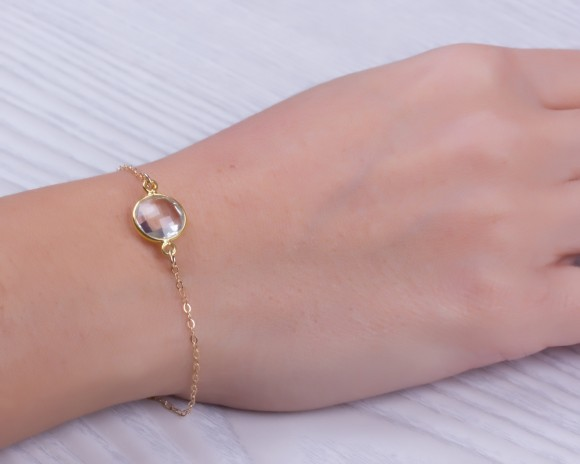 "Quartz bracelet, bridesmaid bracelet, clear quartz bracelet, gold filled bracelet, gemstone bracelet, quartz jewelry, wedding, ""Asclepius"""