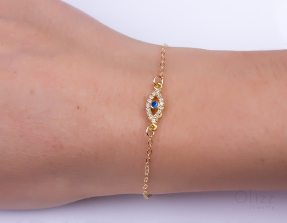 "Evil eye bracelet, gold filled bracelet, tiny evil eye bracelet, cubic zirconia bracelet, protection bracelet, good luck bracelet, ""Beroe"""