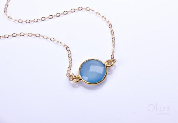 "Chalcedony bracelet, blue Chalcedony, bridesmaid bracelet, aqua Chalcedony, gold filled bracelet, gemstone bracelet, wedding, ""Byblis"""