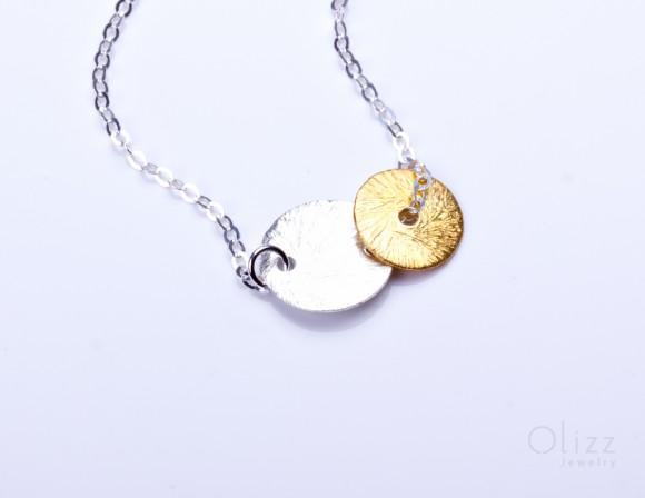 "Double disc bracelet, gold disc bracelet, silver disc bracelet, circle bracelet, brushed silver, bridal bracelet, wedding, ""Electra Vol2"""