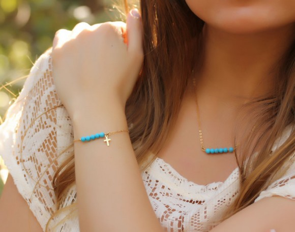 "Turquoise beaded bracelet, Cross bracelet, 14k gold filled, bridesmaid jewelry, delicate gold bracelet, gemstone bracelet, ""Galene"" Bracelet"