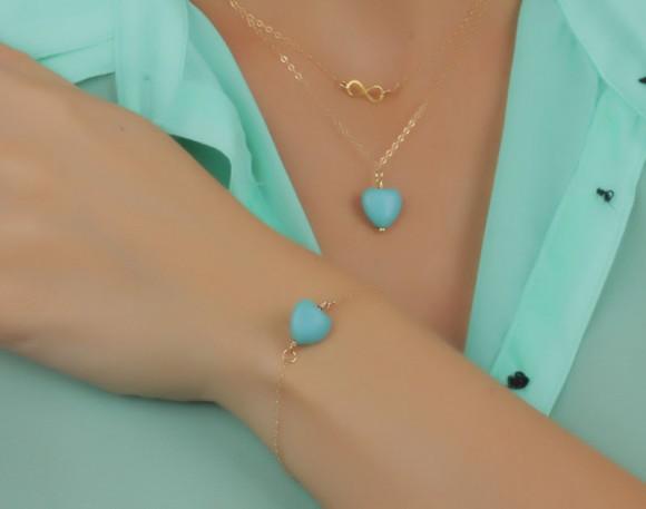 "Heart bracelet, turquoise bracelet, gemstone bracelet, bridesmaid bracelet, simple bracelet, minimalist jewelry, gold bracelet, ""Hebe"""