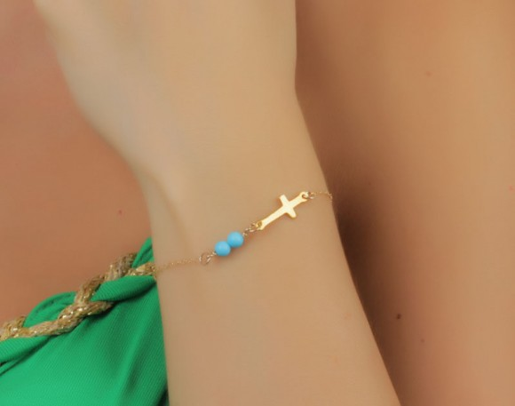 "Gold Sideways cross bracelet, turquoise bracelet, gold and turquoise bracelet, turquoise bridesmaid jewelry, gold filled bracelet, ""Palisi"""