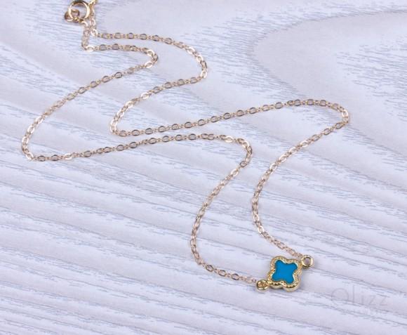 Turquoise clover bracelet, Good luck bracelet, tiny clover, best friend gift, lucky bracelet,bridesmaid gift, tiny jewelry