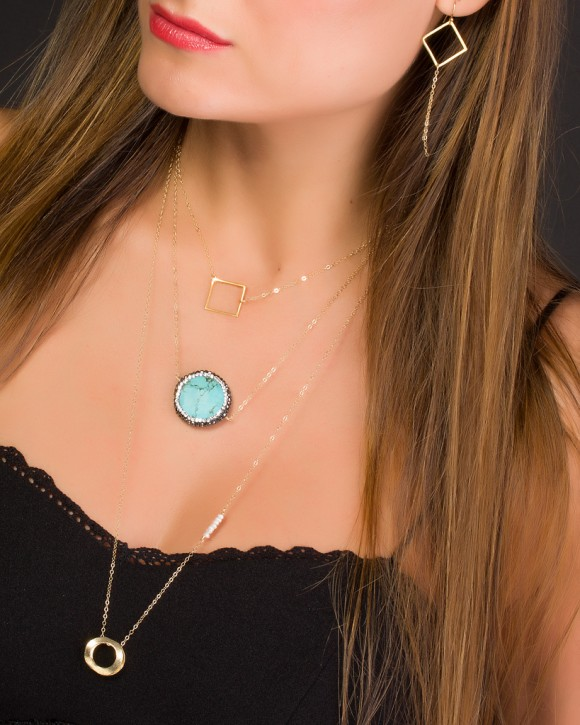 Long Dainty Necklace • Long Circle Necklace