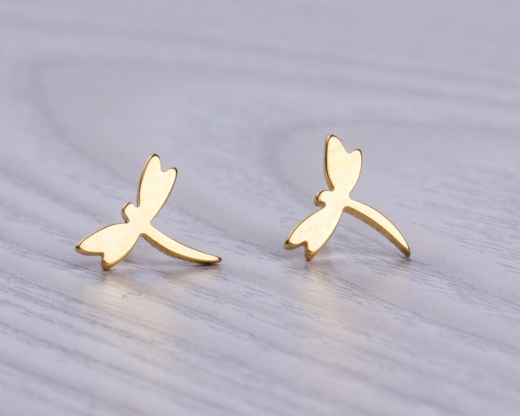 """Dragonfly earrings, stud earrings, tiny stud earrings, insect jewelry, gold earrings, bridesmaid gift, bridal shower gift, """"Dryads"""""""