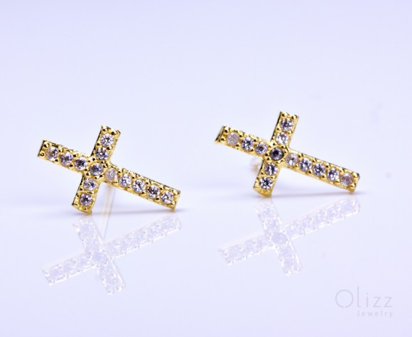 "Gold cross stud earrings, cubic zirconia earrings, sterling silver cross earrings, tiny cross earrings, cross stud earrings, wedding, ""Gyge"""