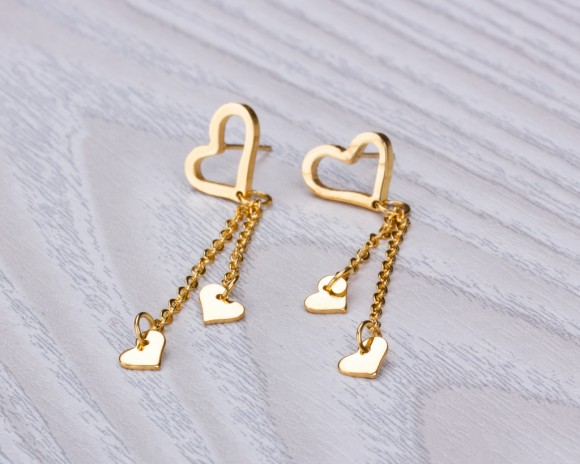 "Heart earrings, gold heart earrings, gold dangle earrings, stainless steel, long post earrings, love earrings, drop earrings, ""Hyades"""