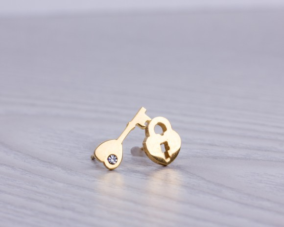 "Tiny stud earrings, key locket, key earrings, gold stud earrings, gold earrings, heart locket, everyday earrings, bridesmaid gift, ""Nonacris"
