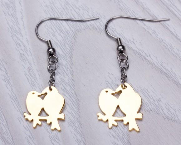 """Gold bird earrings, love birds, dangle earrings, drop earrings, stainless steel, gold dangle earrings, long earrings, wedding """"Oizys"""""""