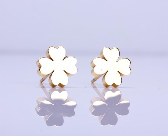 """Gold Clover earrings, gold stud earrings, four leaf clover earrings,good luck earrings,rose gold stud earrings,silver stud earrings, """"Penia"""""""