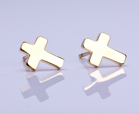 "Cross earrings, gold cross stud earrings, rose gold cross earrings, silver stud earrings, tiny cross earrings, cross post earrings, ""Pheme"""
