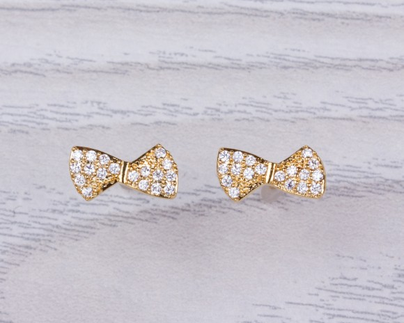 "Bow stud earrings, bridesmaid earrings, cubic zirconia earrings, gold bow earrings, gold stud earrings, vermeil earrings, bridal, ""Pronomus"""