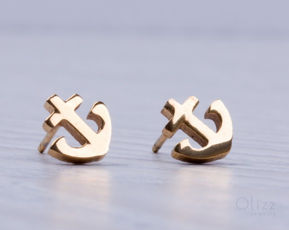 "Anchor stud earrings, gold stud earrings, tiny anchor earrings, stainless steel earrings, gold earrings, post earrings, love anchor,""Proteus"