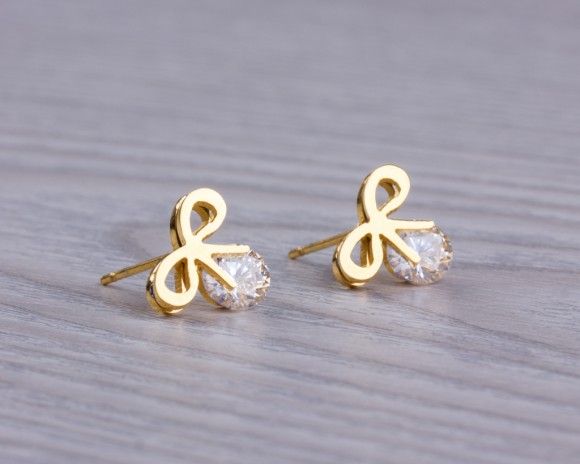 "Bow stud earrings, gold studs, gold bow, post earrings, bridesmaid gift, crystal earrings, stud earrings, crystal bow, wedding, ""Python"""