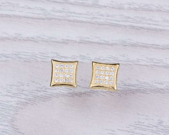 "Diamond shaped stud earrings, cubic zirconia stud earrings, square earrings, gold stud earrings, sterling silver earrings, bridal, ""Rhea"""
