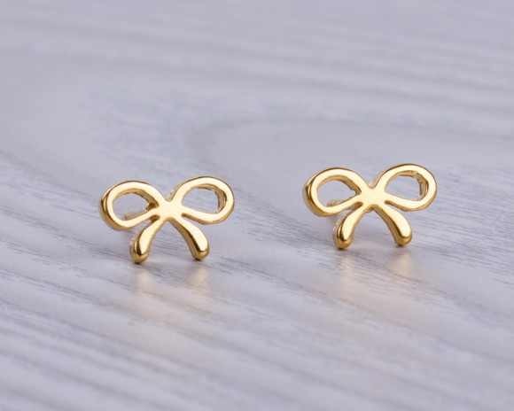 Bow Earrings Gold Stud Stainless Steel Post Bridesmaid