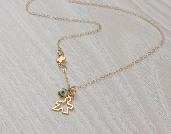New Mom Necklace, Evil Eye Necklace / Tiny Sideways Cross Necklace / New Mom Jewelry, New Mom Gift / | Istrus