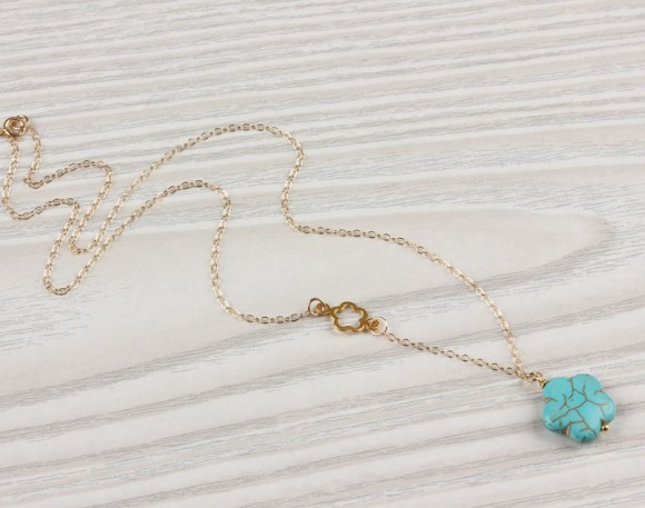 "Turquoise Flower Necklace, Asymmetrical Necklace / Turquoise Gold Necklace, Chrysanthemum Necklace / Tiny Flower Necklace | ""Leon"""