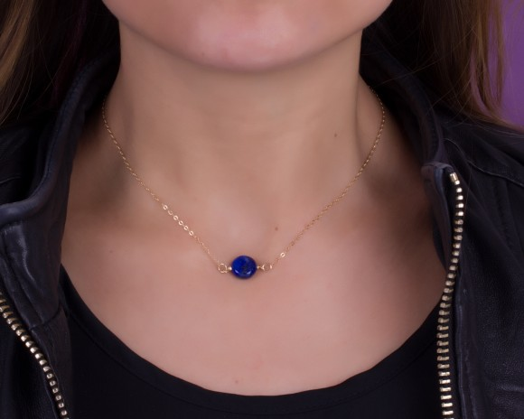 "Lapis Necklace, Blue Lapis Necklace / Gold Necklace, Single Stone Necklace / Silver Necklace, Dark Blue Jewelry | ""Adrasteia"""