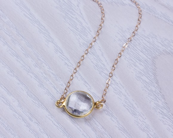 "Quartz Necklace, Bridesmaid Necklace / Gold Quartz Necklace, Birthstone Necklace / Gold Necklace,  Stone Necklace | ""Asclepius"""