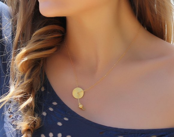 "Disc Gold Necklace, Coin Necklace / Brushed Gold Necklace, 14k Gold Filled / Simple Everyday Necklace, Bridal Necklace | ""Clymene"""
