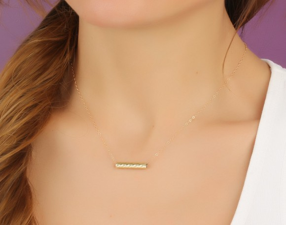 "Gold Bar Necklace, Simple Bar Necklace / 14k Gold Filled Necklace, Bridesmaid Necklace / Minimalist Bar Necklace, Tiny Bar Necklace | ""Eidothea"""