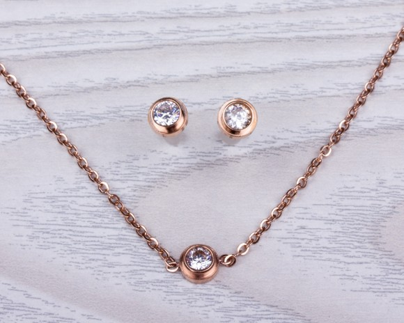 "Bridesmaid Sets, Necklace Earrings Set / Matching Set, Gold Necklace / Layered Necklace, Rose Gold Necklace | ""Epione"""