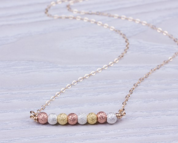 "Rose Gold Bead Necklace, Beaded Necklace / Gold Filled Necklace, Mixed Metal Necklace / Gold Bar Necklace, Bridesmaid Necklace | ""Gorgo"""