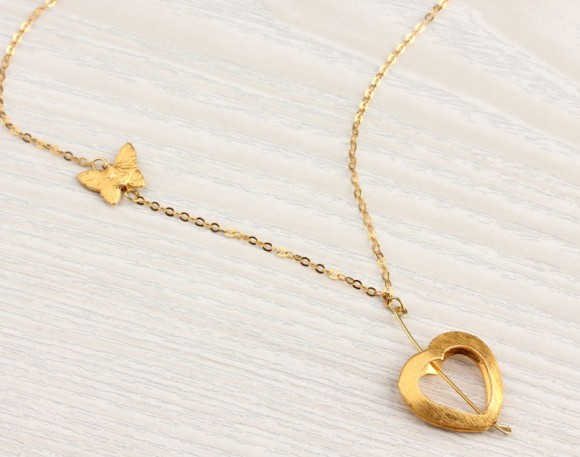 Heart Necklace, Gold Long Necklace / Butterfly Necklace, Bridesmaid Necklace / Charm Necklace | Herophile