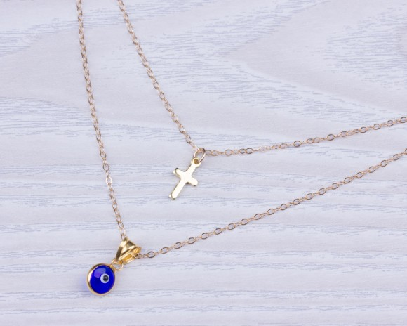 "Double Strand Necklace, Evil Eye Cross Necklace / Layered Necklace, Blue Evil Eye Necklace / Tiny Gold Cross Necklace | ""Hygeia"""