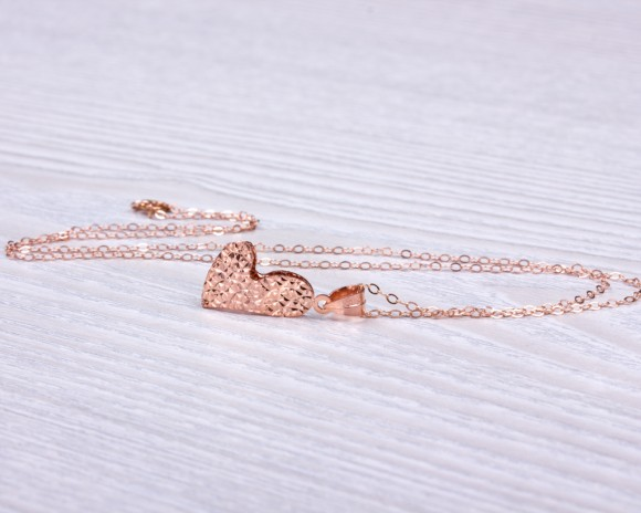 Rose Gold Heart Necklace • Valentines Day Gift