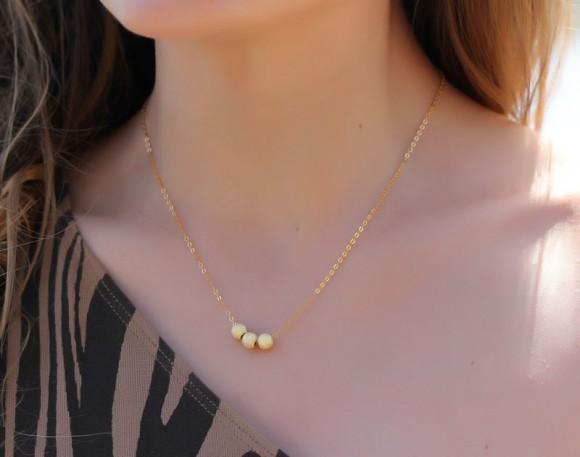 """Gold Filled Necklace, Gold Layered Necklace / Bridesmaid Necklace, Geometric Necklace / Gold Bead Necklace, Wedding Necklace 