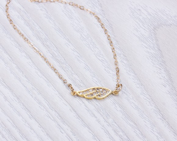 Angel Wing Necklace, Gold Angel Necklace / Gold Filled Necklace, Layered Necklace / Tiny Gold Necklace, Bridesmaid Gift, Wedding | Manticore