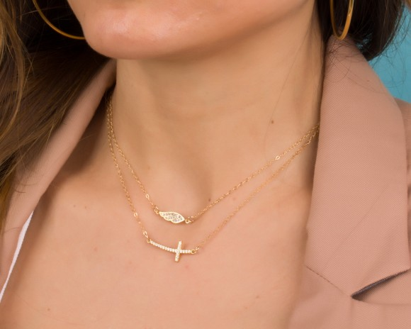 Sideways Cross Necklace, Layered Cross Necklace / Gold Filled Necklace, Cross Jewelry / Gold Cross Necklace, Cubic Zirconia Necklace | Matton