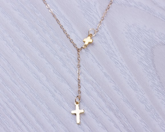 "Cross Lariat Necklace, Gold Lariat Necklace / Tiny Cross Necklace, 14k Gold Filled Jewelry / Protection Necklace | ""Meliades"""