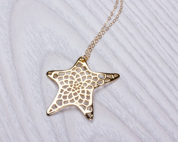 "Gold Star Necklace, Long Necklace / 14k Gold Filled, Layered Necklace / Star Necklace, Best Friend Gift, | ""Metope"""