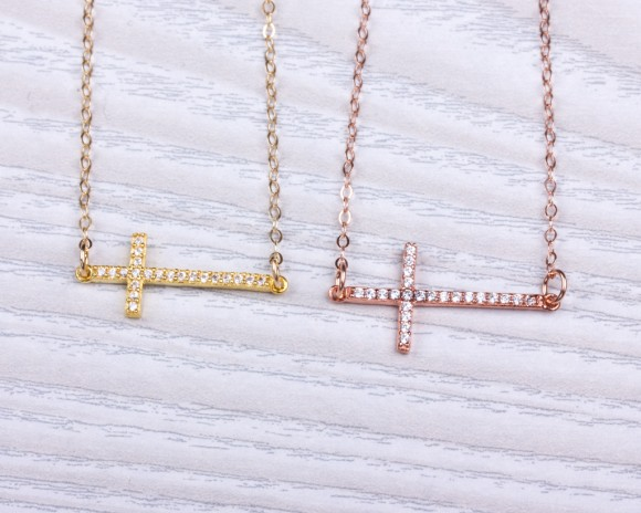 "Sideways Cross Necklace, Layered Necklace / Rose Gold Cross Necklace, Cross Necklace / Gold Cross Necklace | ""Neicea"""