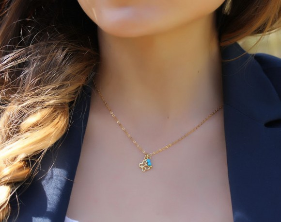 "Butterfly Necklace, Turquoise Necklace / 14k Gold Filled, Charm Necklace / Gold Butterfly, Everyday Jewelry | ""Nephele"""
