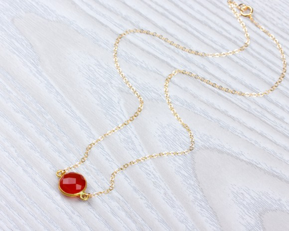 Carnelian Necklace - Single Stone Necklace