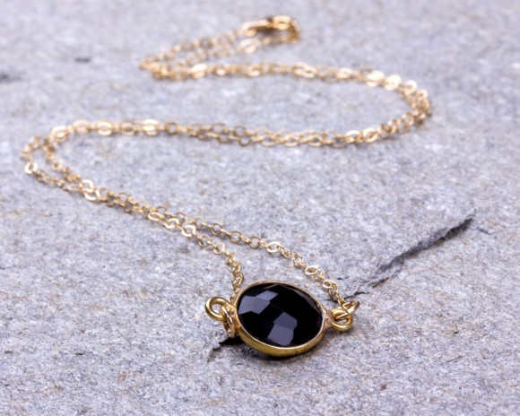 Black Onyx Necklace / Onyx necklace / Black Stone necklace / Bridesmaid necklace / Onyx Pendant / Stone necklace / Winter wedding | Ophion