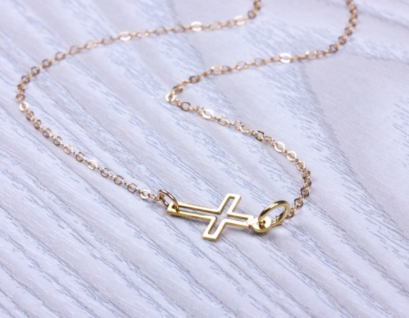 Sideways Cross Necklace, Cross Necklace / Gold Necklace, Bridesmaid Necklace / Cross Pendant, Protection Necklace, Christening | Ourea