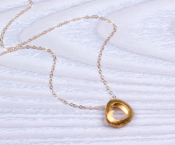 "Gold Heart Necklace, Heart Necklace / Double Heart Necklace, Bridesmaid Necklace / Valentines Day, Big Heart | ""Phusis"""