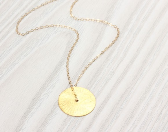 "Large Disc Necklace, Gold Disc Necklace / Gold Circle Pendant, Bridesmaid Jewelry / Eternity Necklace, 14k Gold Filled Pendant | ""Semele"""