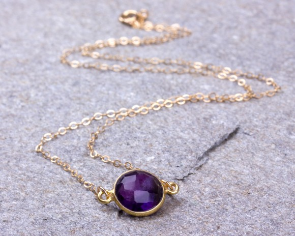 Amethyst Necklace / February Birthstone Necklace / Bridesmaid Necklace / Purple Necklace / Amethyst Pendant / Gemstone Necklace | Socus