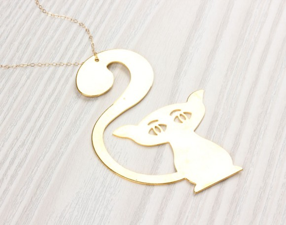"Gold Cat Necklace, Extra Long Necklace / Lucky Cat Necklace, Long Necklace / Metal Necklace, Gold Plated Necklace / Cat Necklace | ""Upis"""